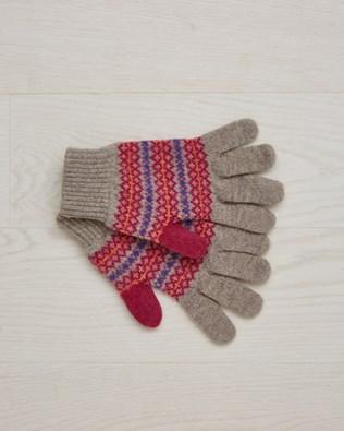 Lambswool Fairisle Gloves - One/Size - Mushroom - 2376