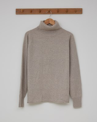 Geelong Slouch Roll Neck - Size Medium - Fossil - 2380