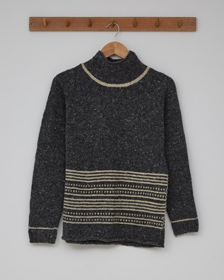 Flecked Funnel Neck - Size Extra Small - Charcoal/Oatmeal - 2382