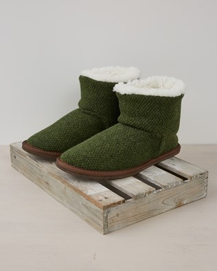 Knitted Shortie Boots Size 9 - Forest Green - 2384