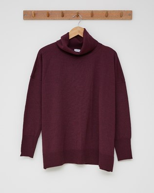 Slouchy Fine Knit Roll Neck Jumper - Size Small - Damson - 2429