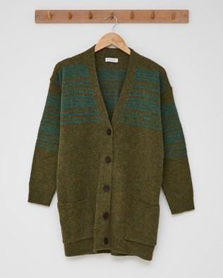 The Boyfriend Cardigan (Stripe detail)  - Size Small - Olive, Sea Green - 2433