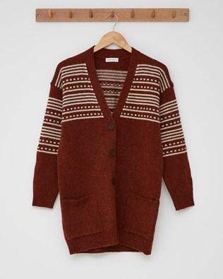 The Boyfriend Cardigan (Stripe detail)  - Size Small - Rust, Winter White - 2434