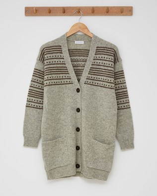 The Boyfriend Cardigan (Stripe detail)  - Size Small - Silver grey - 2435