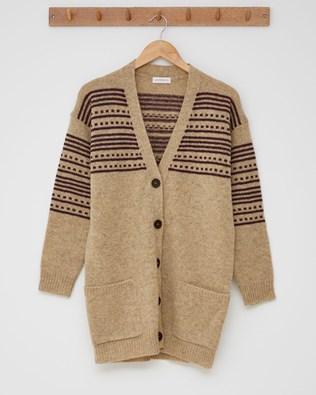 The Boyfriend Cardigan (Stripe detail)  - Size Small - Camel, Claret - 2436