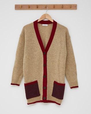 The Boyfriend Cardigan (Colourblock) - Size Small - Camel, Claret Colourblock - 2437