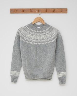 Ladies Fairisle Crew Neck Jumper - Size Small - Silver grey, Winter white - 2440