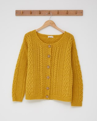 Shetland Cable Cardigan - Size Small - Gorse - 2441