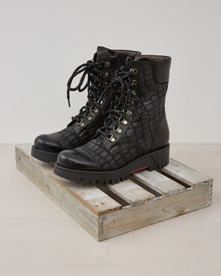 Leather Croc Embossed Lace Up Boot - Black - Size 37 - 2444