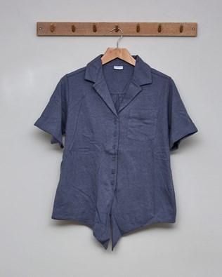 Linen Organic Cotton Tie Front Top Size - 10 - Smoke Grey - 2394