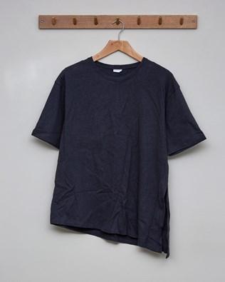 Linen Organic Cotton Tie Waist Top Size 10 - Charcoal - 2395