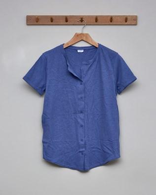 Linen Organic Cotton Button Through Top - Size 10 - Cornflower Blue - 2396