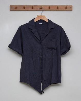 Linen Organic Cotton Tie Front Top - Size 10 -  Charcoal - 2397