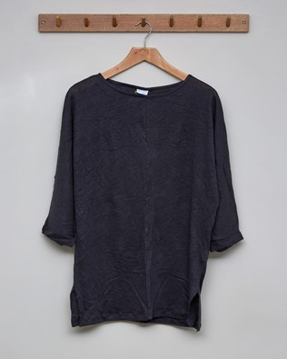 Linen Boat Neck Top - Size 10 - Charcoal - 2398