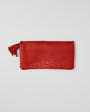 Veg Tan Leather Rectangle Purse - One/Size - Red - 2399