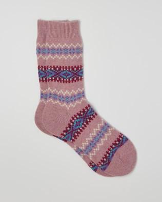 Cashmere Fair Isle Socks - One/Size - Pink - 2402