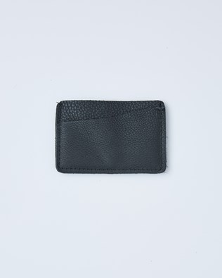 Leather Card Wallet - One/Size - Black - 2412