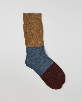 Men's Donegal Colourblock Sock - Size Medium - Camel, Vintage Blue, Damson - 2424