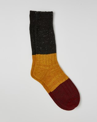 Men's Donegal Colourblock Sock - Size Medium - Charcoal, Gorse, Claret - 2425