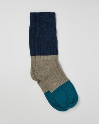Men's Donegal Colourblock Sock - Size Medium - Navy, Fossil, Icelandic - 2426