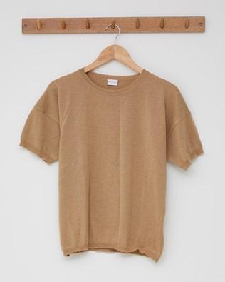 Fine Knit Merino Tshirt - Size Small - Camel - 2458