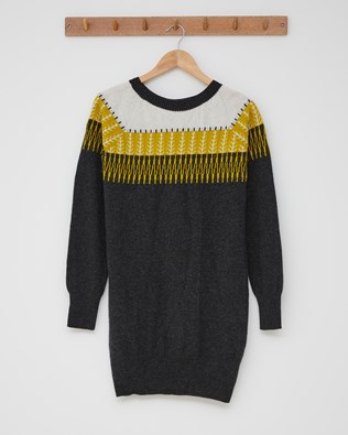 Supersoft Slouch Dress - Size Small - Charcoal, Gorse Fairisle - 2460