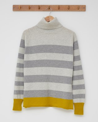 Geelong Slouch Roll Neck Jumper - Size Small - Fossil, Gorse stripe - 2463