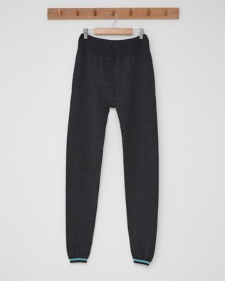 Merino Lounge Pants - Size Small - Charcoal, Sky Blue Tipped - 2465