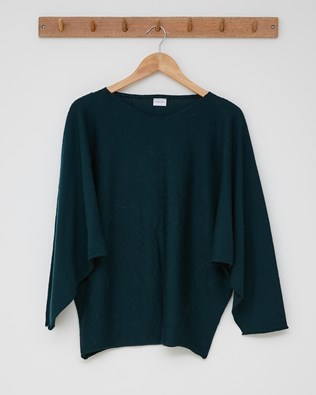 Fine Knit Batwing Jumper - Size Small - Forest Green - 2468