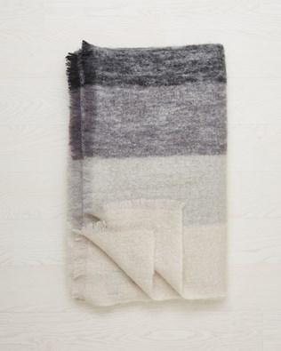 Mohair Wool Throw - One Size - Grey Mix - 2471
