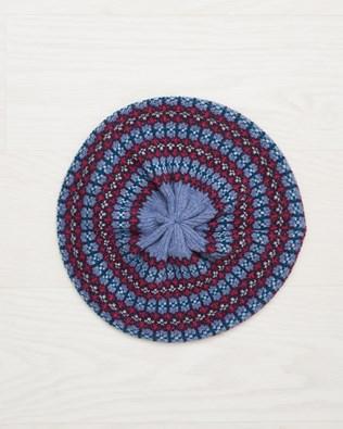 Lambswool Fairisle Beret - Vintage Blue Fairisle - One Size - 2495