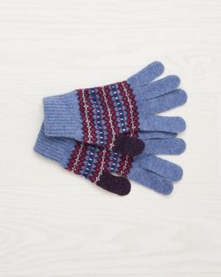 Lambswool Fairisle Glove - Vintage Blue Fairisle - One Size - 2496