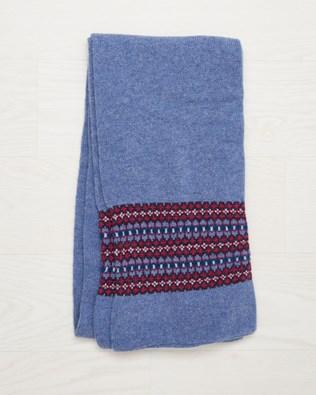 Lambswool Fairisle Scarf - Vintage Blue Fairisle - One Size - 2497