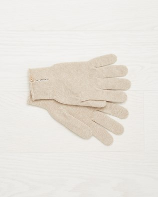 Cashmere button gloves - Oatmeal - One Size - 2500