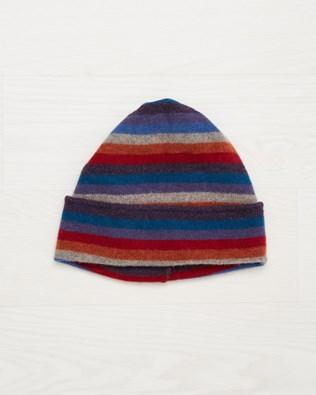 Ladies Stripey Wool Beanie - Multi - One Size - 2502