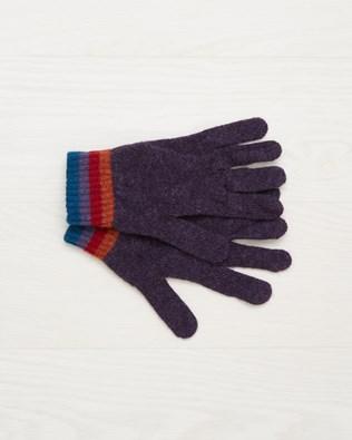 Ladies Stripey Wool Gloves - Multi - One Size - 2503