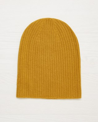 Cashmere Ribbed Beanie - Mustard - One Size - 2505