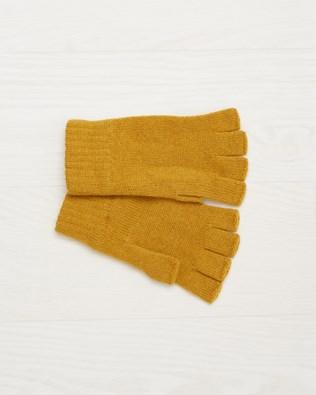 Cashmere Fingerless Gloves- Mustard- One Size - 2509