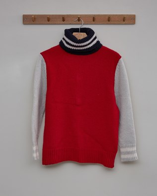 Alpine Easy Slouch Roll Neck - Size Small - Navy, Red - 2474