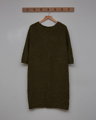 Donegal Midi Dress - Size Small - Olive - 2480
