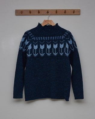 Fair Isle Funnel Neck Jumper - Size Small - Navy - 2482