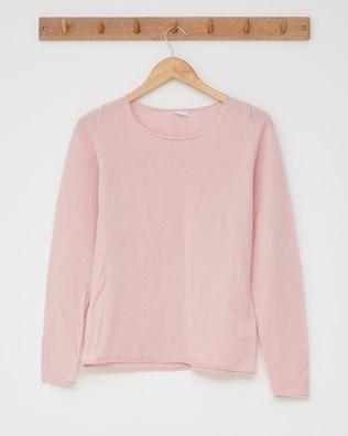 Fine knit merino crew neck - Size Small -  Pink - 2485