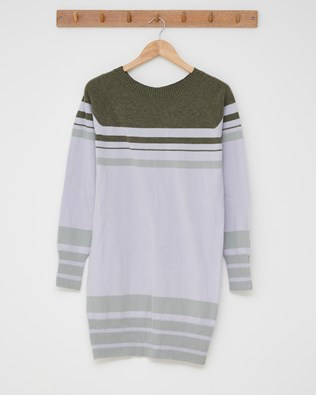 Supersoft slouch dress - Size Small - Lilac, Olive stripe - 2487