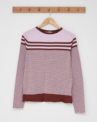 Cotton crew top - Size Small - Pink, maroon stripe - 2510