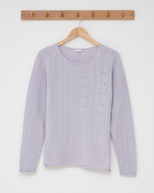 Lace detail crew neck jumper - Size Small - Lilac - 2511