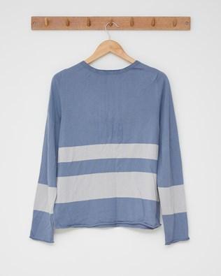 Cotton crew top - Size Small - Cornflower, mineral stripe - 2513