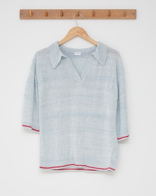 Linen polo - Size Small - Skylight, anemone tipping - 2520