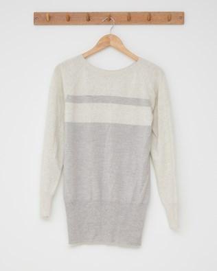 Supersoft slouch jumper - Size Small - Ecru, silver grey stripe - 2523