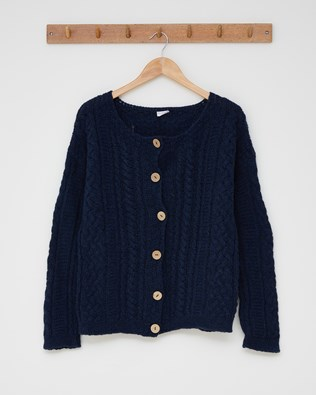 Cable cardigan - Size Small - Navy - 2524