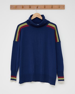 Sporty slouchy fine knit roll neck - Size Small - Navy, anemone multi stripe - 2528